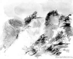 "Aleksandr Medvedev - ""The Bluff"". China ink."