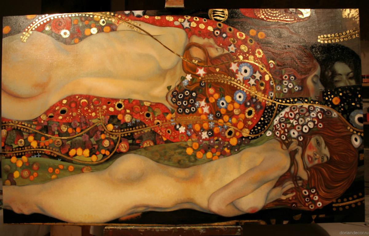 Ирина Агалакова — копия с картины Густава Климта «Водяные Змеи». Холст, масло. Размер: 75х120 см.