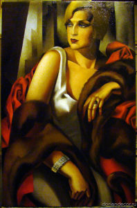 Irina Agalakova - a made-to-measure portrait in a Tamara Łempicka style, art-deco. Oil on canvas, 2014.