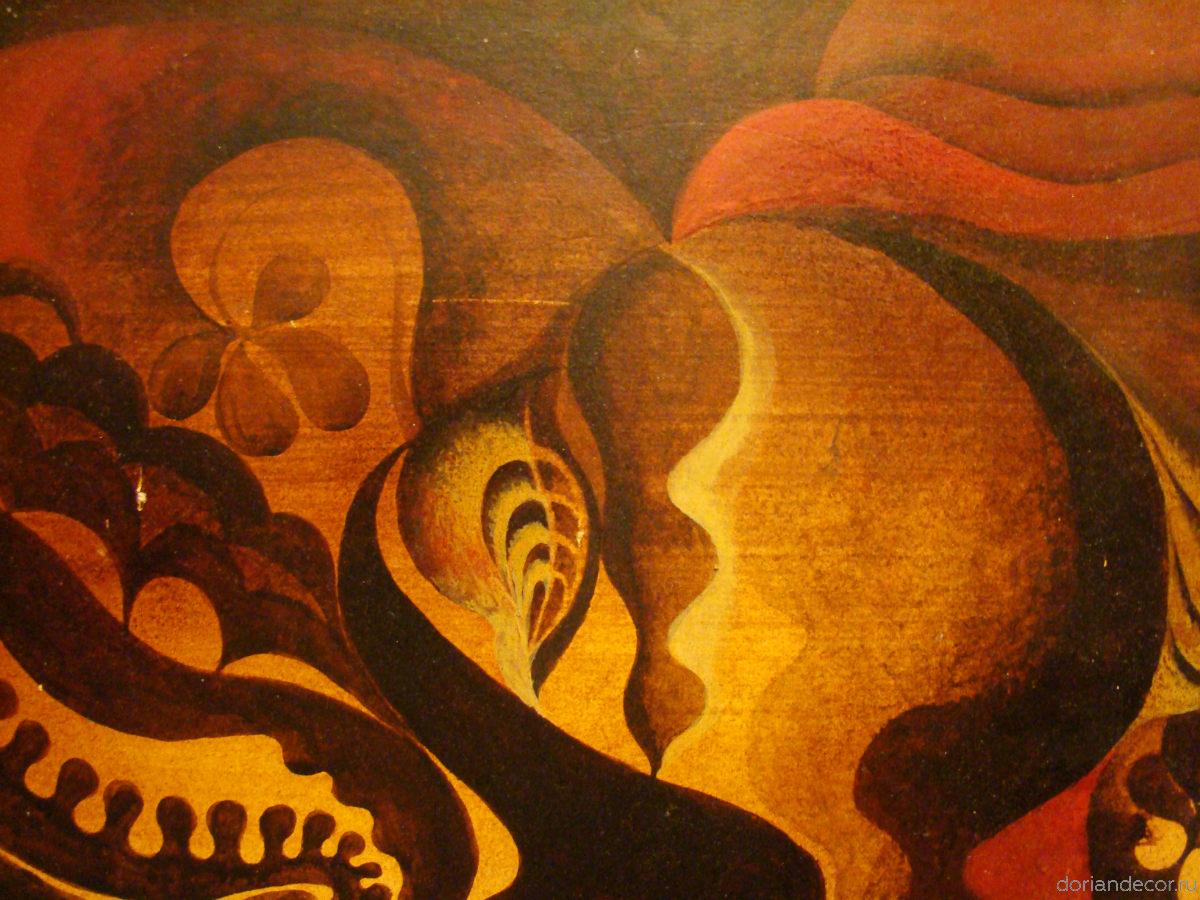 Ирина Агалакова - холодный батик, натуральный шелк. (Декоративный фрагмент). Растительный орнамент