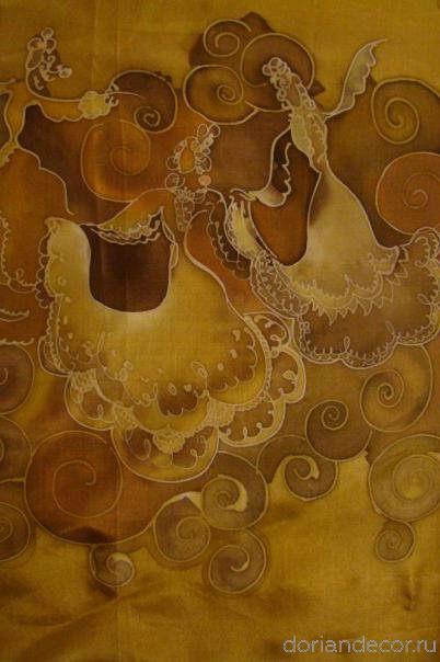 Ирина Агалакова - холодный батик, натуральный шелк. (Декоративный фрагмент). Орнамент, деталь.