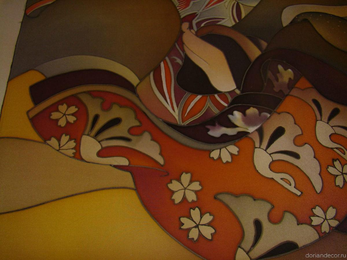 Ирина Агалакова - холодный батик, натуральный шелк. (Декоративный фрагмент). Растительный орнамент, деталь. Японский мотив