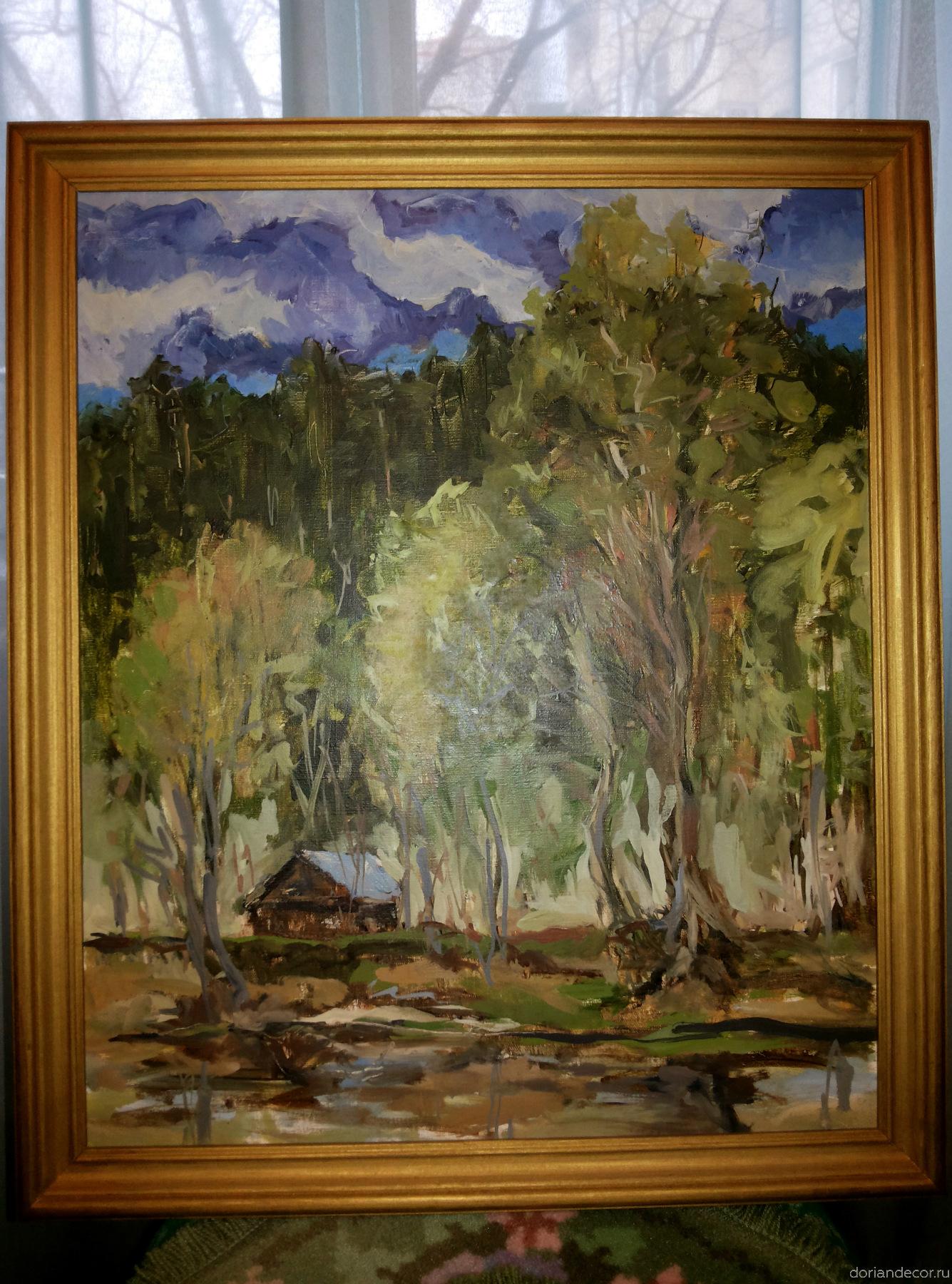 """Вячеслав Агалаков — """"Река Луга"""" (май 1999 г.). 55 х 46 см."""