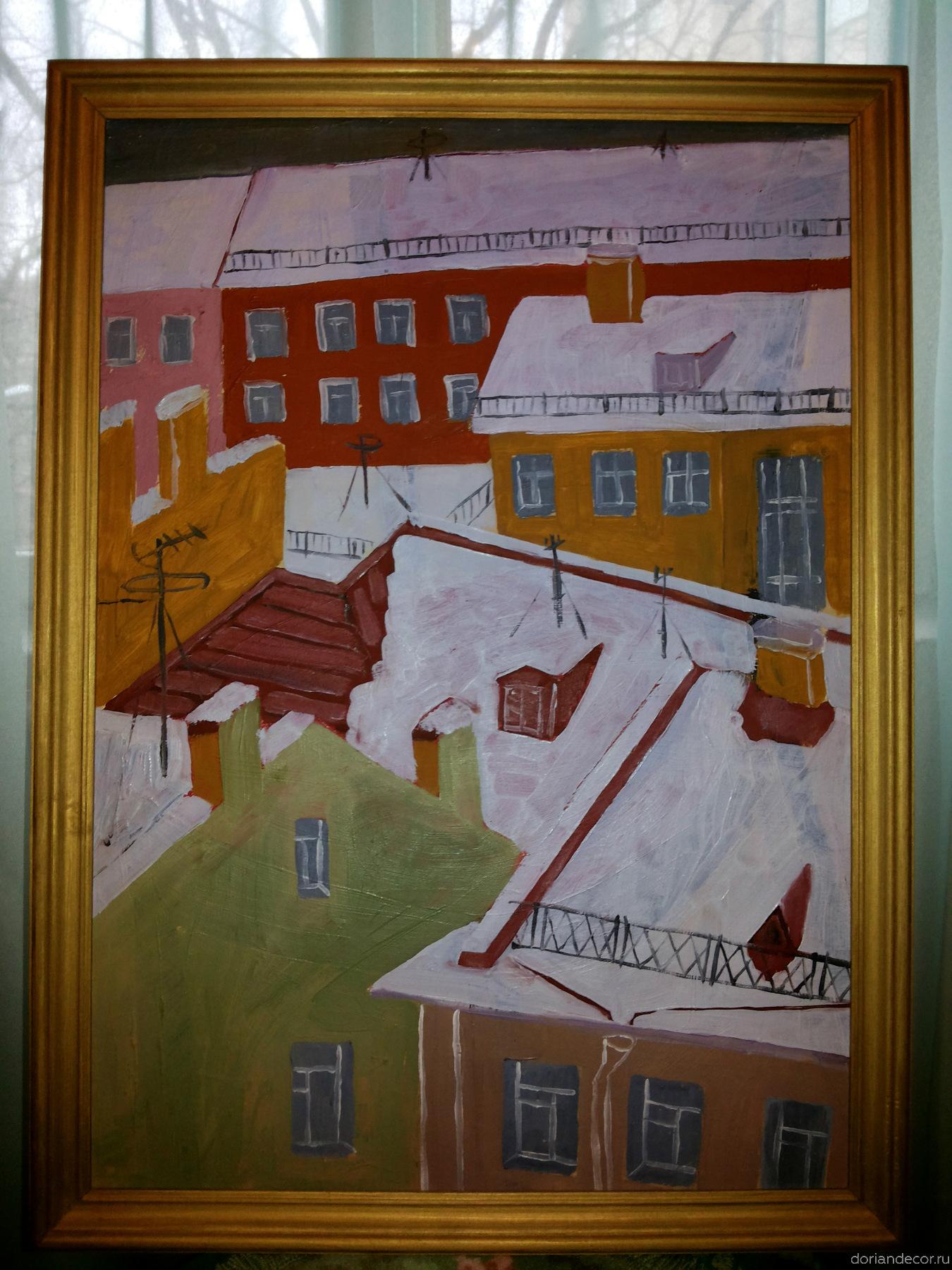 Вячеслав Агалаков — картина «Крыши» (1995 г.). 50 х 71 см.