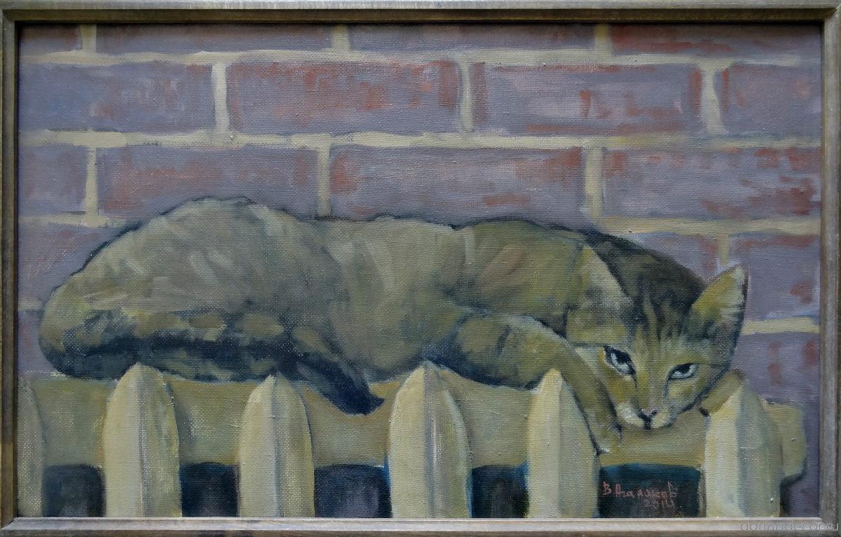 """Вячеслав Агалаков - картина """"Мика"""", 2014 г. Кошка на батарее."""