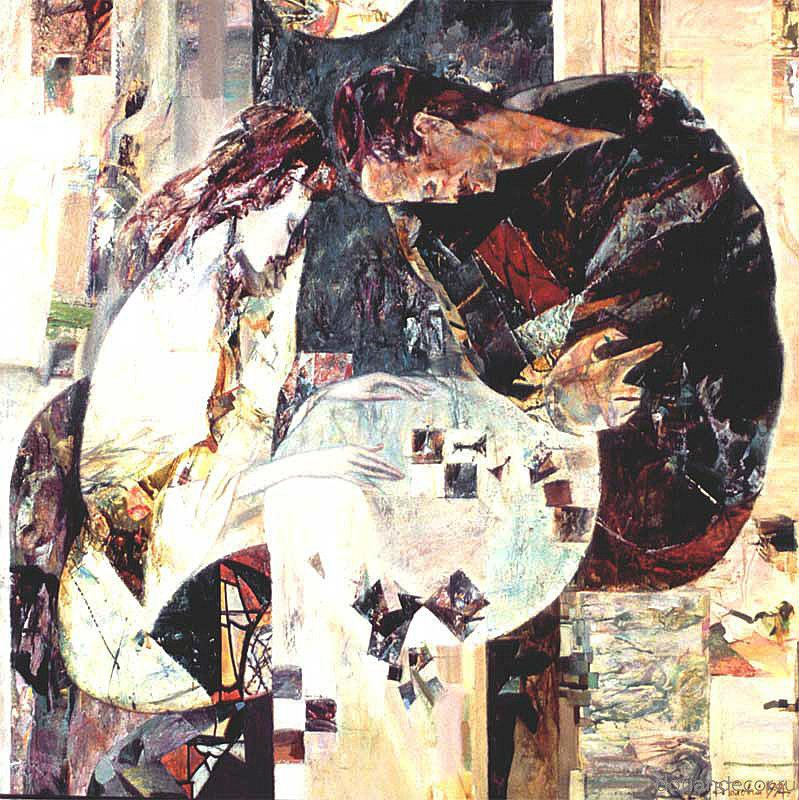 "Виктор Головий - ""Диалог"", 1994. 100x100 см. Холст, масло. Частная коллекция. Россия."