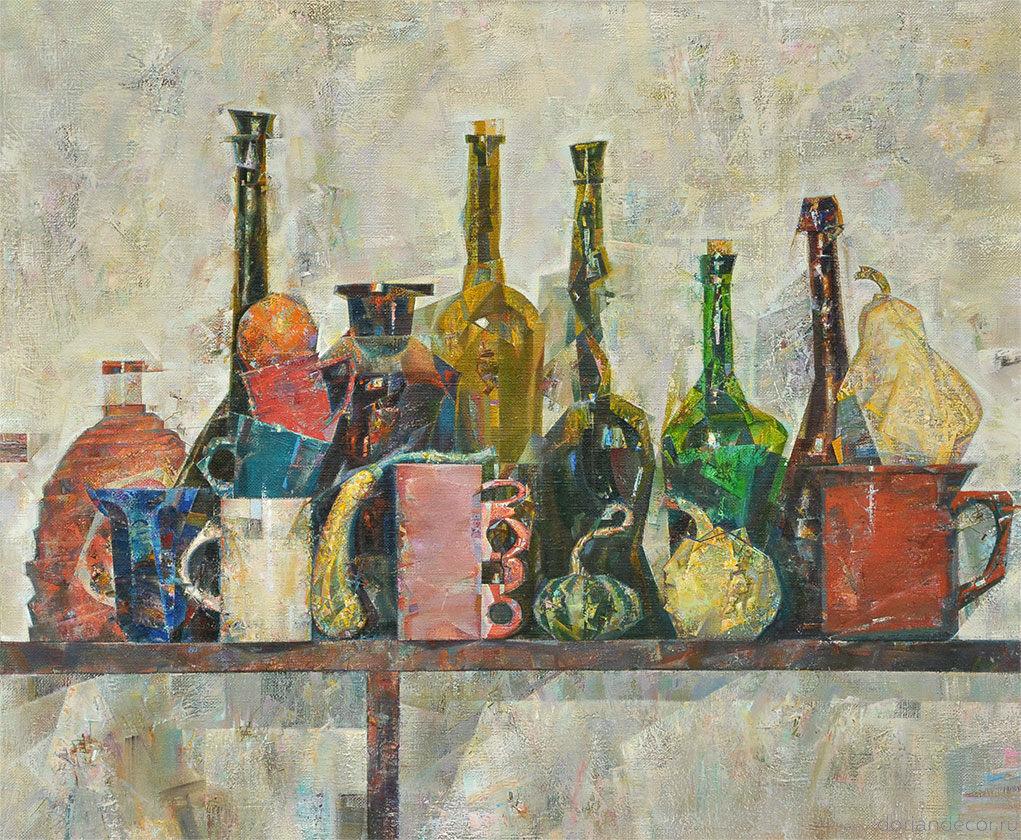 "Виктор Головий - натюрмот ""На полке"", 2011. 90x70 см. Холст, масло."