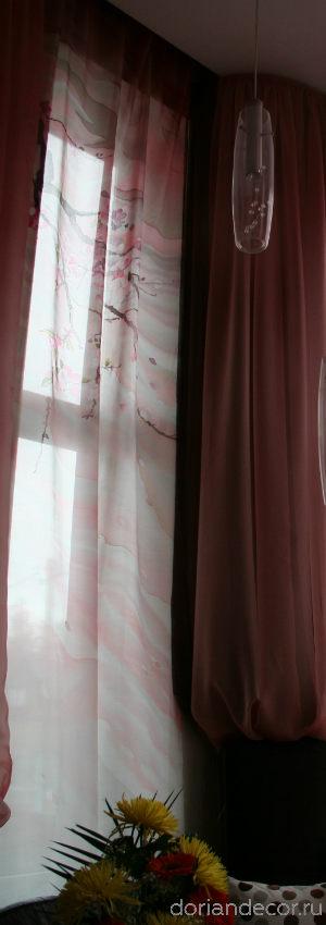 Ирина Агалакова - Штора в частный интерьер «Сакура». Свободная роспись, холодный батик, шелк «Эксельсиор». Левая часть триптиха.