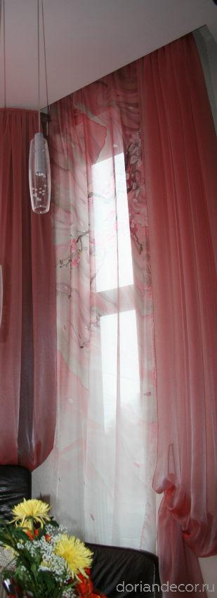 Ирина Агалакова - Штора в частный интерьер «Сакура». Свободная роспись, холодный батик, шелк «Эксельсиор». Правая часть триптиха.