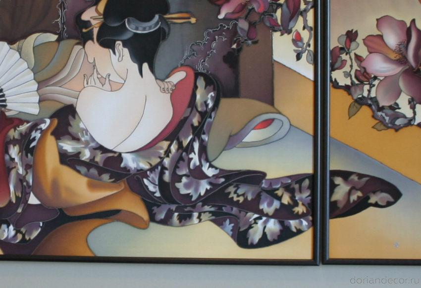 Ирина Агалакова - Декоративное настенное панно в спальню по моитвам японских гравюр (фрагмент)