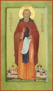 Sergius of Radonezh. The measured icon, 52x30 cm. 2012.