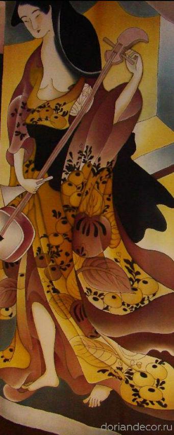 Ирина Агалакова — «Музицирование». Штора на окно по мотивам японских гравюр. Роспись по натуральному шёлку. Размер — 2,5 X 1,8 м.