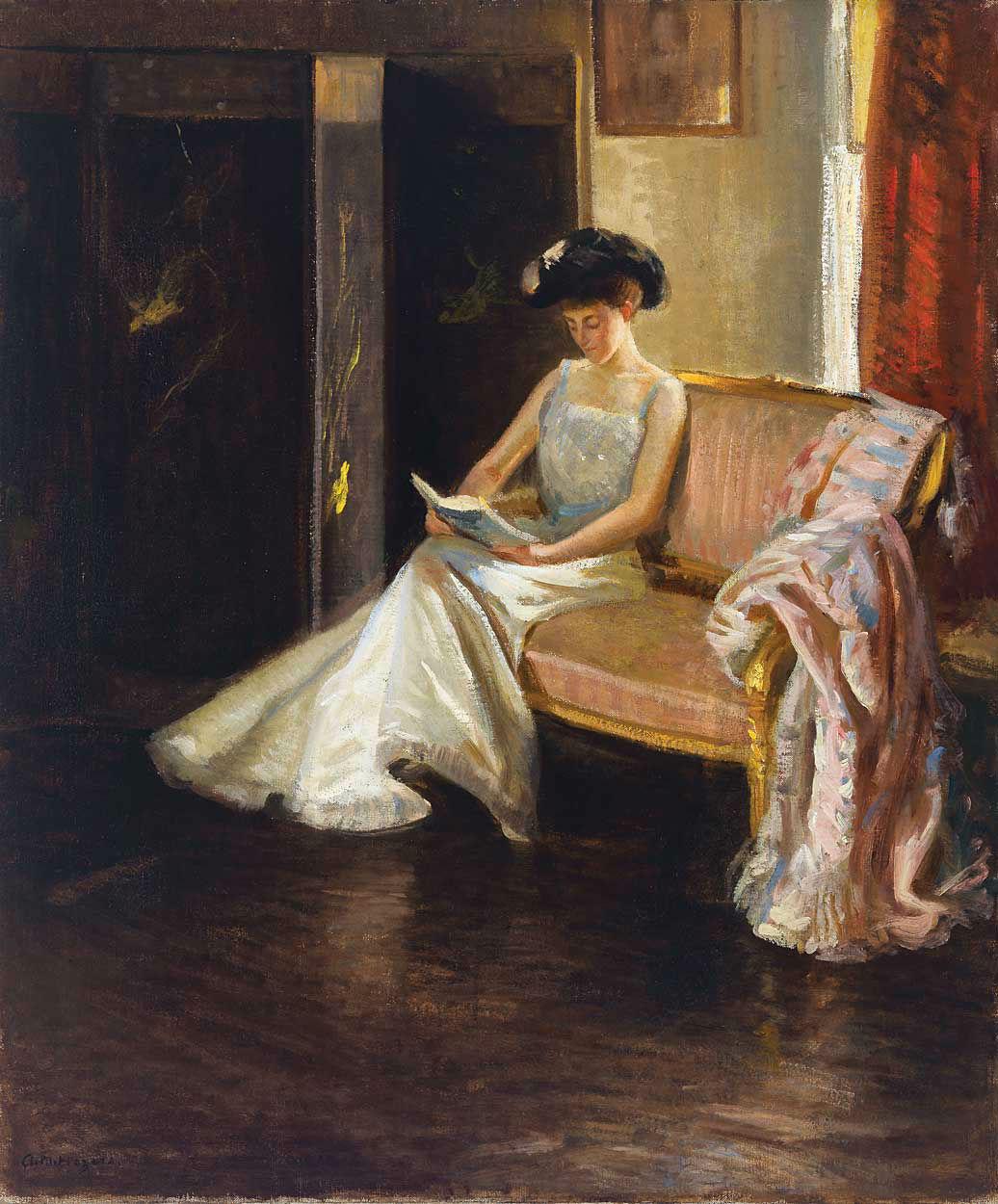Arthur M. Hazard - Woman reading in interior