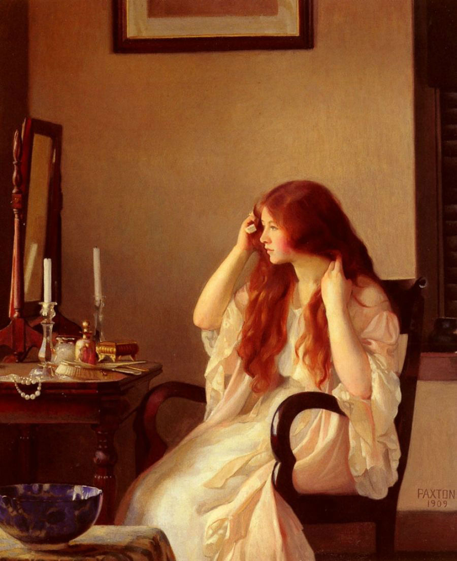 William Paxton - Girl combing her hair или Young girl with a mirror, 1909