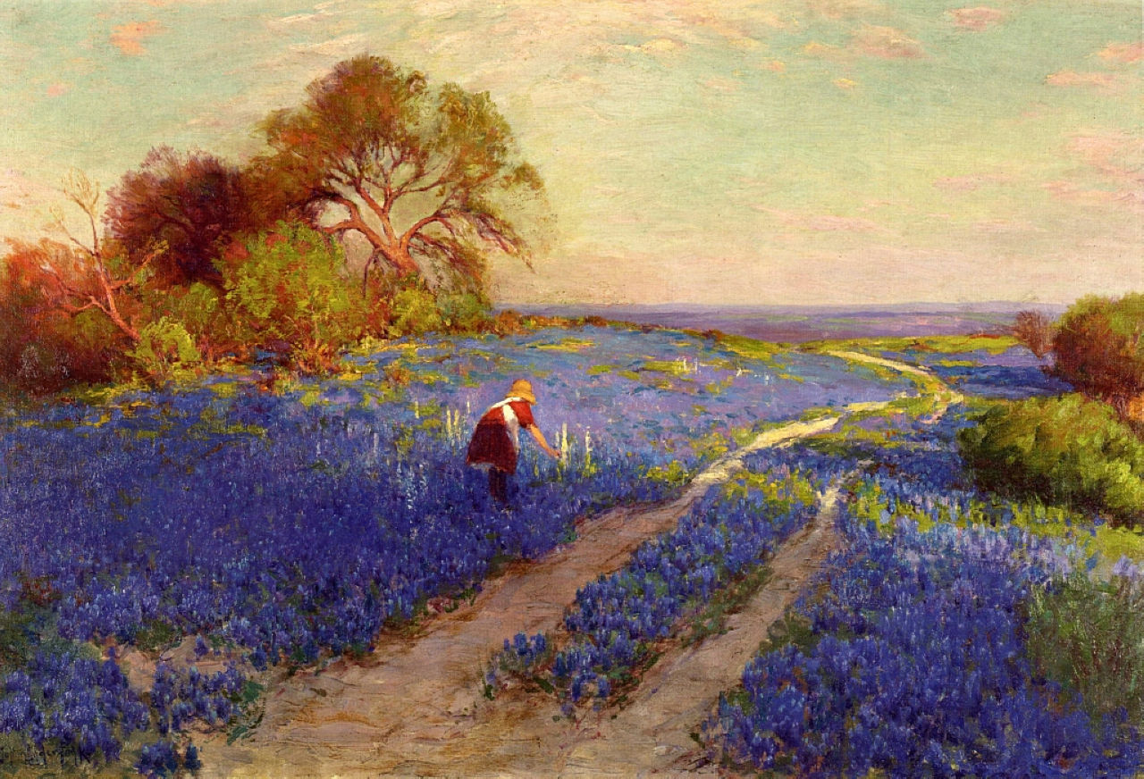 Robert Julian Onderdonk - bluebonnet-scene-with-a-girl-1920