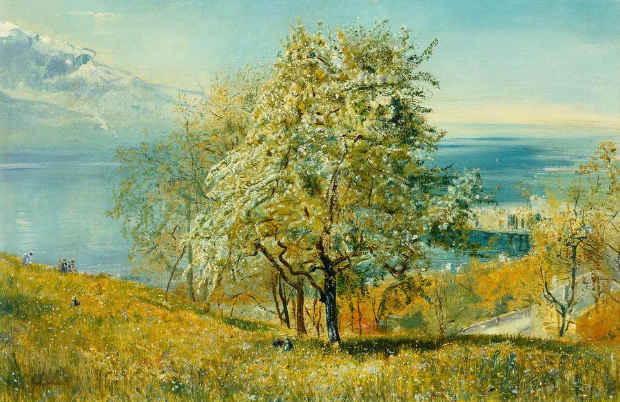 John William Inchbold - An Alpine lake