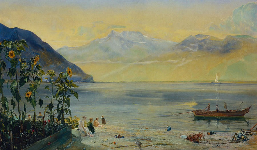 John William Inchbold - lake-leman-with-the-dents-du-midi-in-the-distance