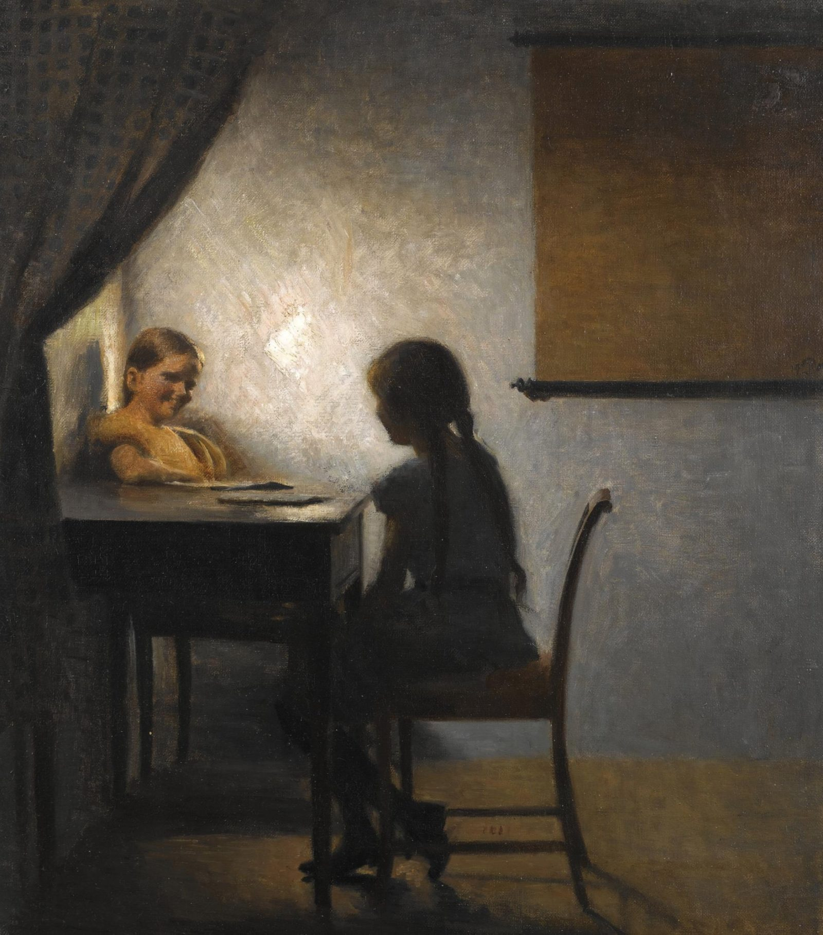 Peter Vilhelm Ilsted - Interior with two girls (1904)