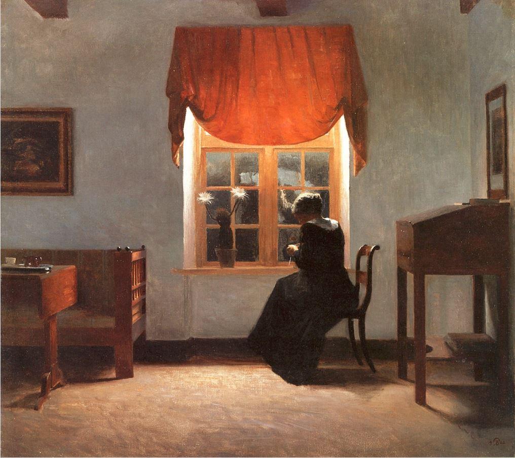Peter Vilhelm Ilsted - femme tricotant a la fenetre 1902